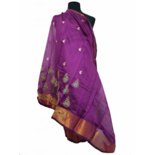 Purple and Bronze Sari
