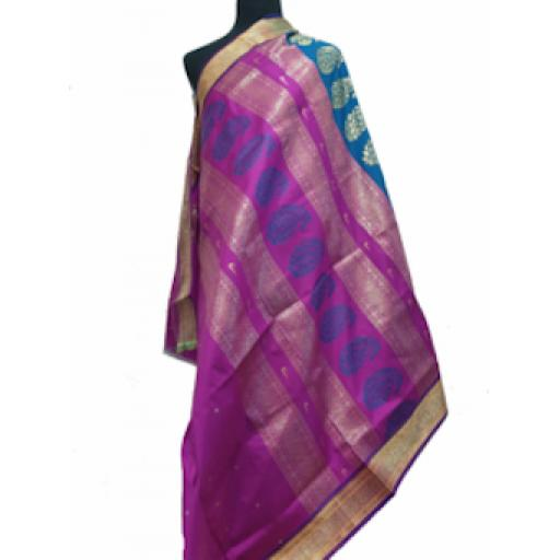 Turquoise and Purple Sari