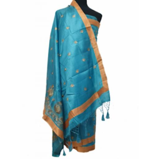 Turquoise and Gold Sari