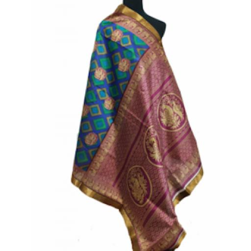 Purple Green Printed Sari
